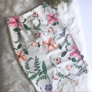 Express Floral Midi Skirt